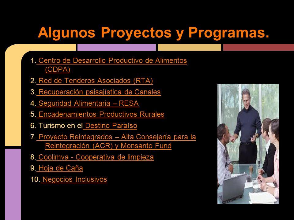 1. Centro de Desarrollo Productivo de Alimentos (CDPA) Centro de Desarrollo Productivo de Alimentos (CDPA) 2. Red de Tenderos Asociados (RTA) Red de T