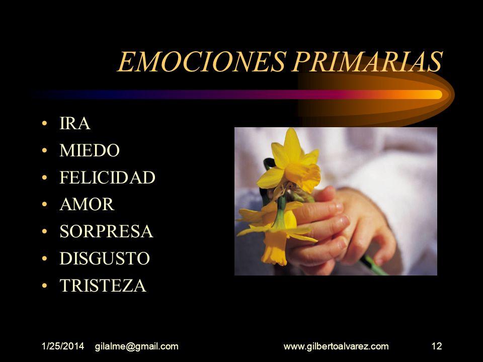 1/25/2014gilalme@gmail.com www.gilbertoalvarez.com11 EMOCIONES Podemos definir la emoción como