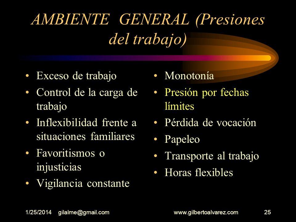 1/25/2014gilalme@gmail.com www.gilbertoalvarez.com24 AMBIENTE GENERAL Seguridad en el empleo Relaciones con su jefe Cambio de prioridades Relaciones c