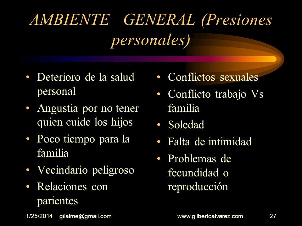 1/25/2014gilalme@gmail.com www.gilbertoalvarez.com26 AMBIENTE GENERAL Dificultades financieras Responsabilidades familiares en aumento Desavenencias c