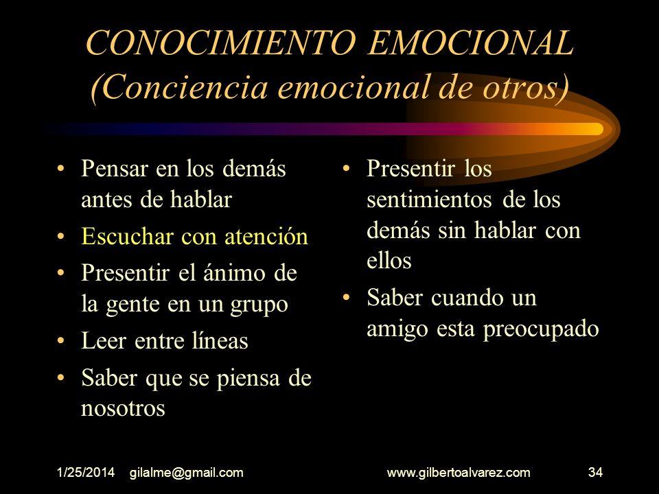 1/25/2014gilalme@gmail.com www.gilbertoalvarez.com33 CONOCIMIENTO EMOCIONAL Reconocer las emociones de otros Dificultades para hablar con quienes no c