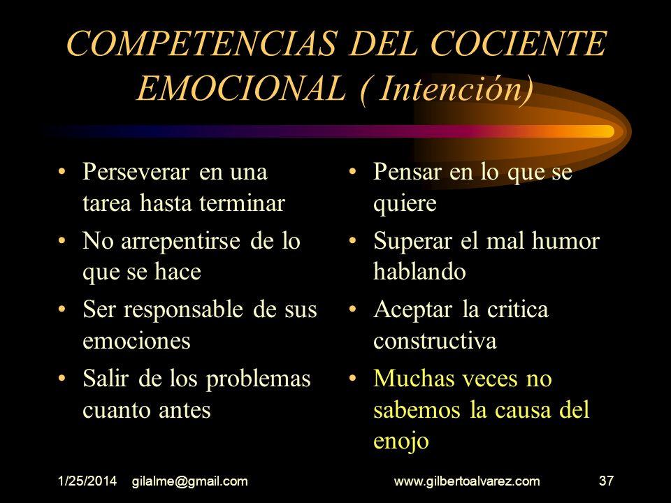 1/25/2014gilalme@gmail.com www.gilbertoalvarez.com36 III- COMPETENCIAS DEL COCIENTE EMOCIONAL INTENCION Concentración Terminar lo que se hace Saber de