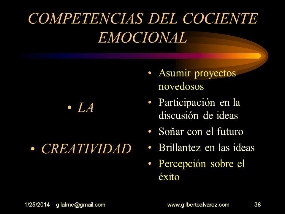 1/25/2014gilalme@gmail.com www.gilbertoalvarez.com37 COMPETENCIAS DEL COCIENTE EMOCIONAL ( Intención) Perseverar en una tarea hasta terminar No arrepe