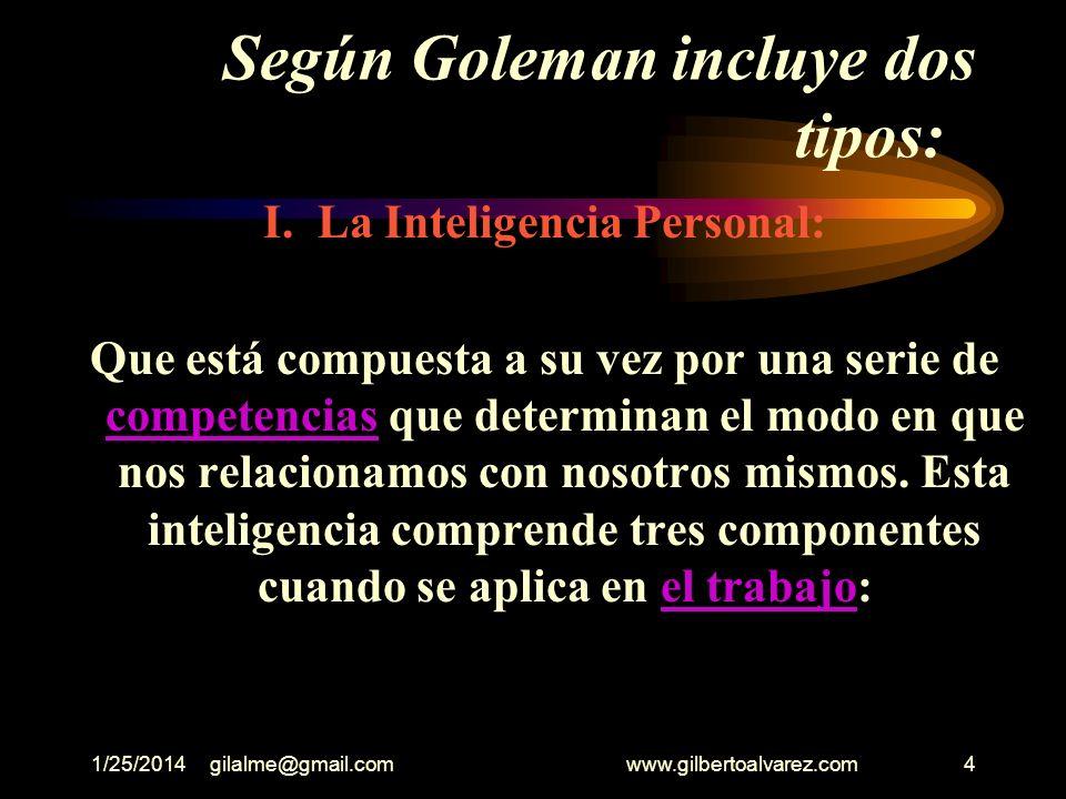 1/25/2014gilalme@gmail.com www.gilbertoalvarez.com14 EL ÉXITO EMOCIONAL En el mundo empresarial se está cada día más convencido de que aquellas personas que más alto o más rápidamente ascienden en sus carreras profesionales son aquellas que poseen un mayor coeficiente de Inteligencia Emocional.