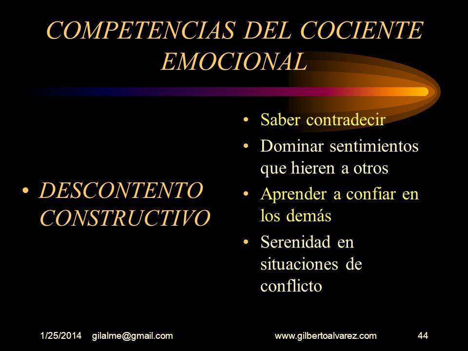 1/25/2014gilalme@gmail.com www.gilbertoalvarez.com43 COMPETENCIAS DEL COCIENTE EMOCIONAL (Conexiones interpersonales) Claridad en saber quien nos apoy