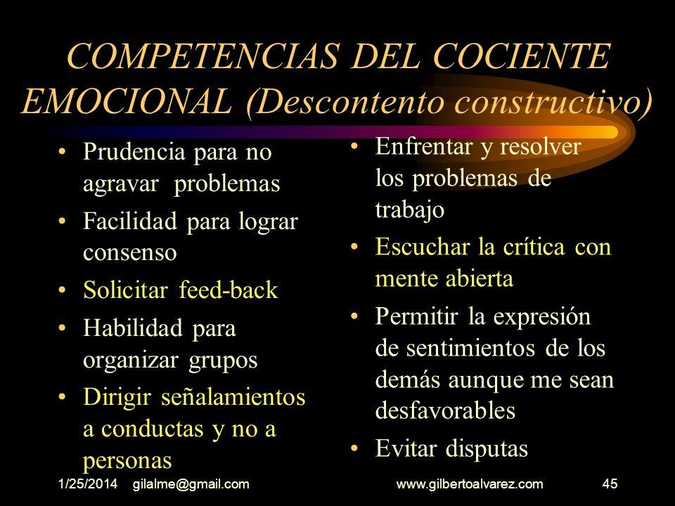 1/25/2014gilalme@gmail.com www.gilbertoalvarez.com44 COMPETENCIAS DEL COCIENTE EMOCIONAL DESCONTENTO CONSTRUCTIVO Saber contradecir Dominar sentimient