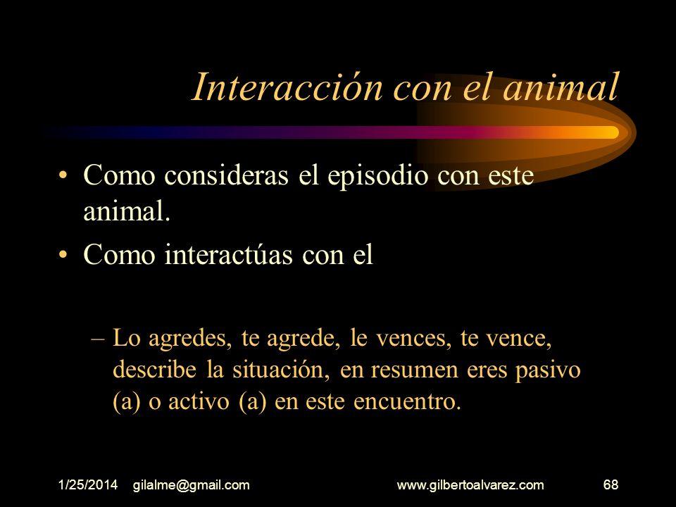 1/25/2014gilalme@gmail.com www.gilbertoalvarez.com67 Un animal Inicias tu recorrido y cuando menos lo piensas aparece un animal Que animal encuentras