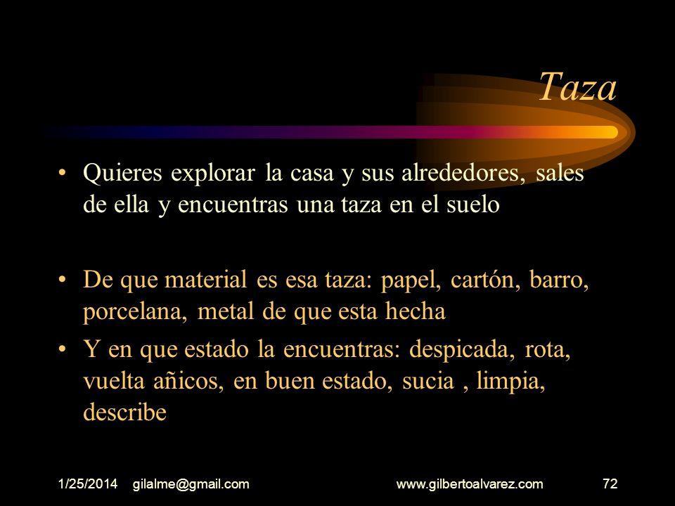 1/25/2014gilalme@gmail.com www.gilbertoalvarez.com71 Comedor Logras entrar a la casa, la observas detenidamente, te detienes en el comedor Describe el