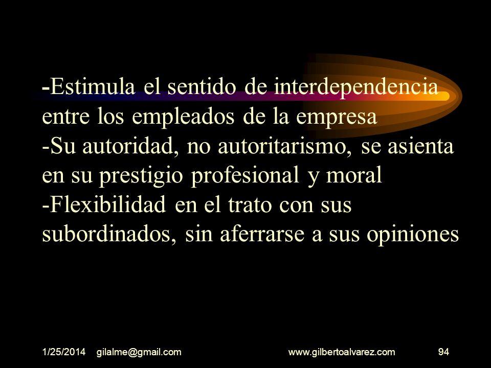 1/25/2014gilalme@gmail.com www.gilbertoalvarez.com93 -Es consciente de los aspectos positivos y negativos de la empresa -Autocontrol de sus sentimient