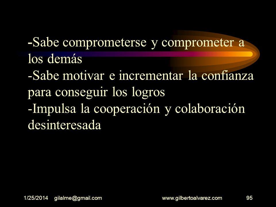 1/25/2014gilalme@gmail.com www.gilbertoalvarez.com94 -Estimula el sentido de interdependencia entre los empleados de la empresa -Su autoridad, no auto