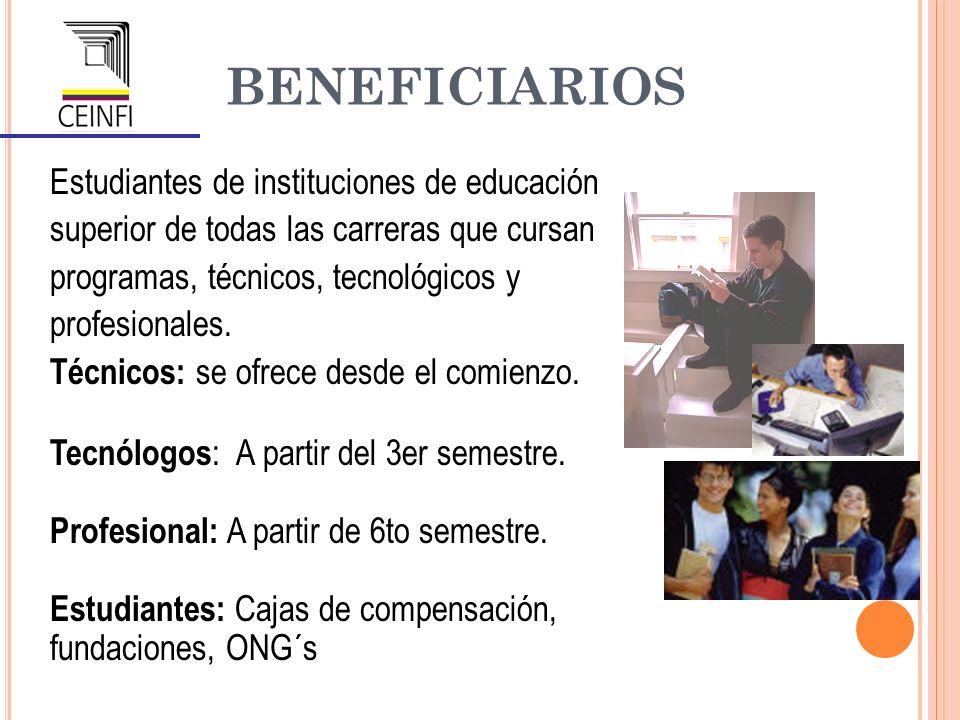 BENEFICIARIOS Estudiantes de instituciones de educación superior de todas las carreras que cursan programas, técnicos, tecnológicos y profesionales. T
