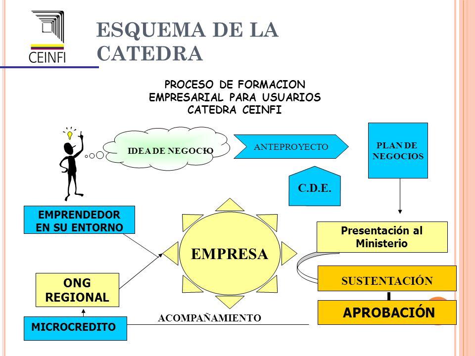 ESQUEMA DE LA CATEDRA PROCESO DE FORMACION EMPRESARIAL PARA USUARIOS CATEDRA CEINFI ONG REGIONAL EMPRENDEDOR EN SU ENTORNO Presentación al Ministerio