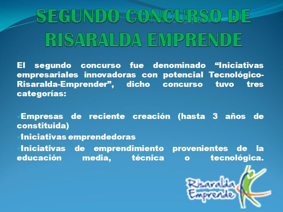 El segundo concurso fue denominado Iniciativas empresariales innovadoras con potencial Tecnológico- Risaralda-Emprender, dicho concurso tuvo tres cate