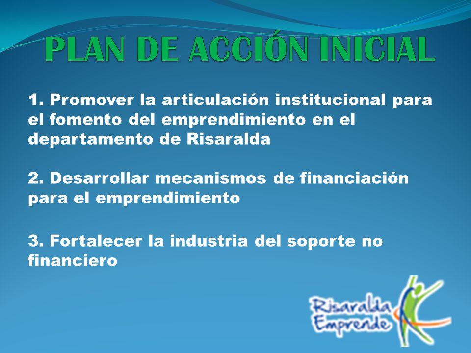 1. Promover la articulación institucional para el fomento del emprendimiento en el departamento de Risaralda 2. Desarrollar mecanismos de financiación