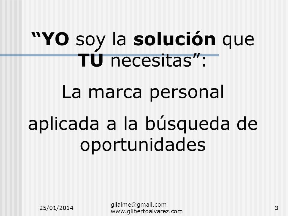 YO soy la solución que TÚ necesitas: La marca personal aplicada a la búsqueda de oportunidades 25/01/20143