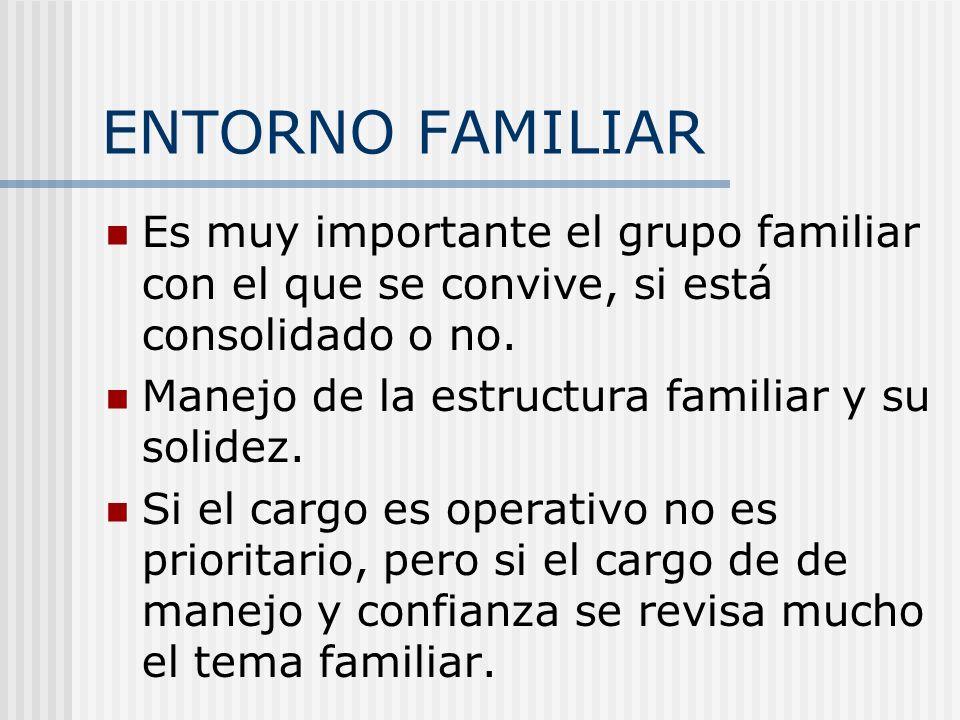 ENTORNO FAMILIAR Es muy importante el grupo familiar con el que se convive, si está consolidado o no. Manejo de la estructura familiar y su solidez. S
