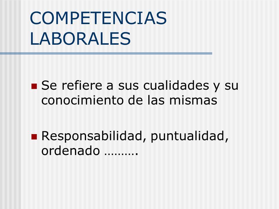 COMPETENCIAS LABORALES Se refiere a sus cualidades y su conocimiento de las mismas Responsabilidad, puntualidad, ordenado ……….