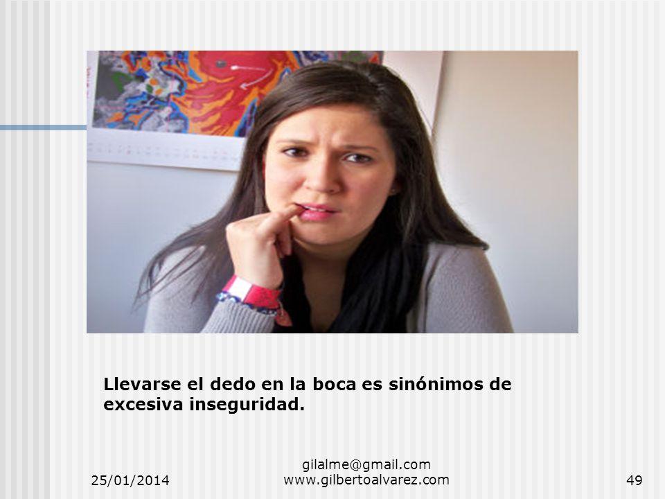 25/01/2014 gilalme@gmail.com www.gilbertoalvarez.com49 Llevarse el dedo en la boca es sinónimos de excesiva inseguridad.
