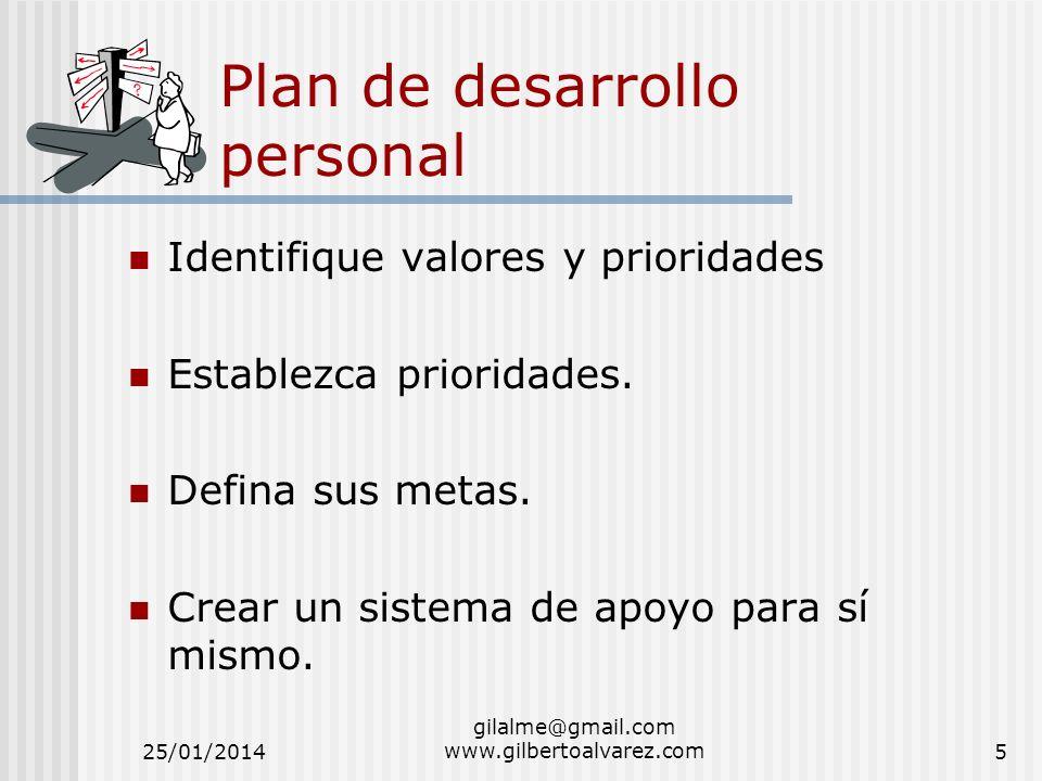 Plan de desarrollo personal Identifique valores y prioridades Establezca prioridades. Defina sus metas. Crear un sistema de apoyo para sí mismo. 25/01