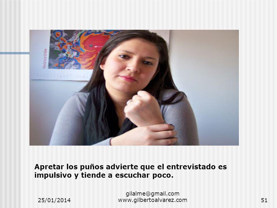 25/01/2014 gilalme@gmail.com www.gilbertoalvarez.com51 Apretar los puños advierte que el entrevistado es impulsivo y tiende a escuchar poco.