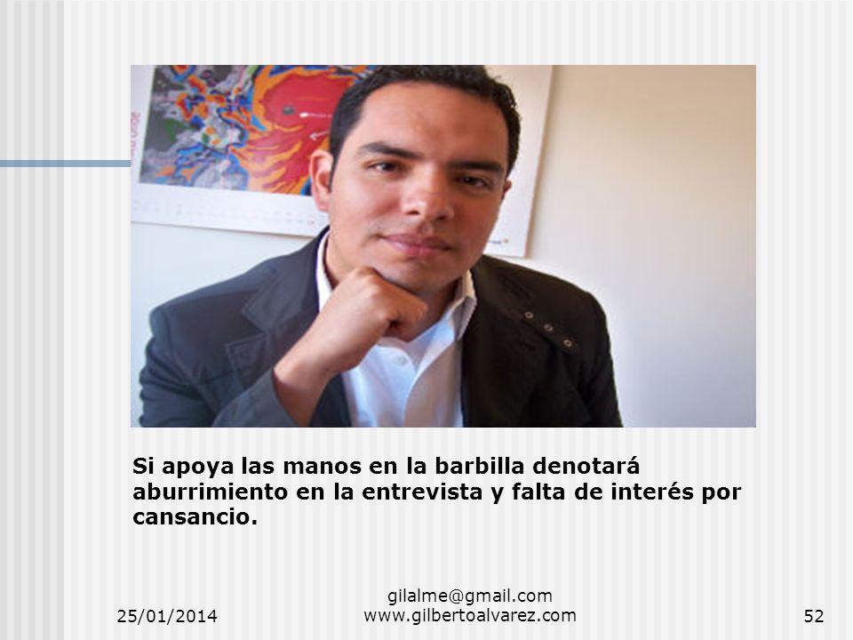 25/01/2014 gilalme@gmail.com www.gilbertoalvarez.com52 Si apoya las manos en la barbilla denotará aburrimiento en la entrevista y falta de interés por