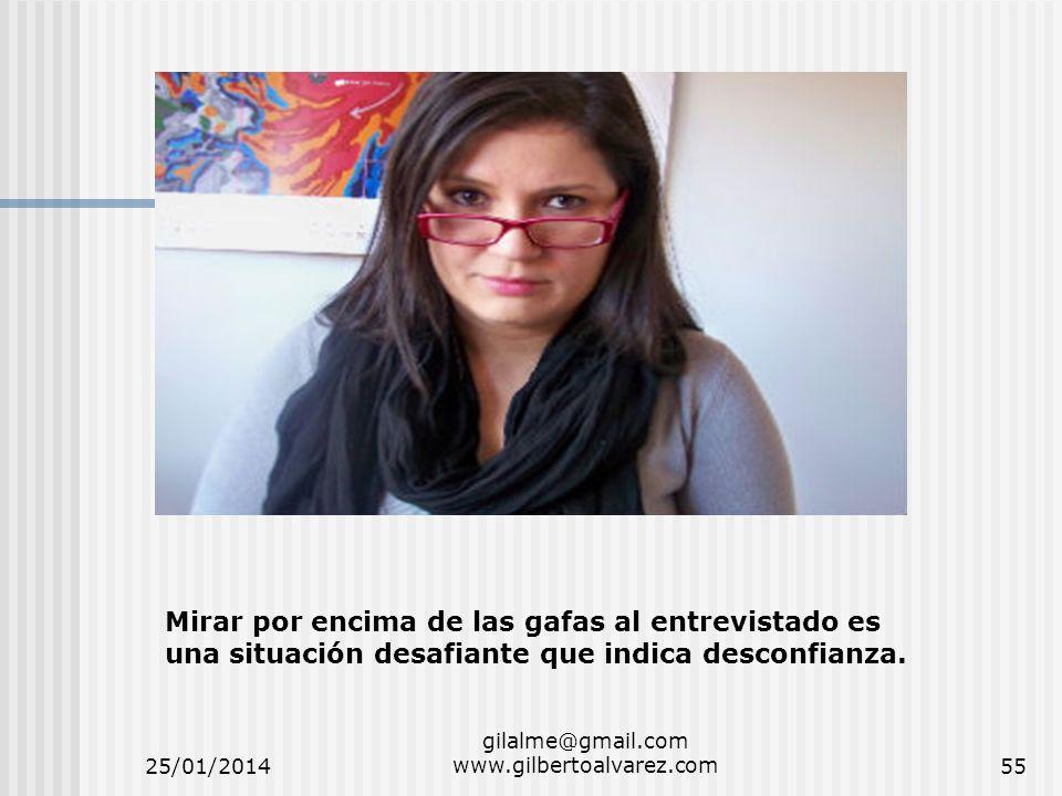 25/01/2014 gilalme@gmail.com www.gilbertoalvarez.com55 Mirar por encima de las gafas al entrevistado es una situación desafiante que indica desconfian