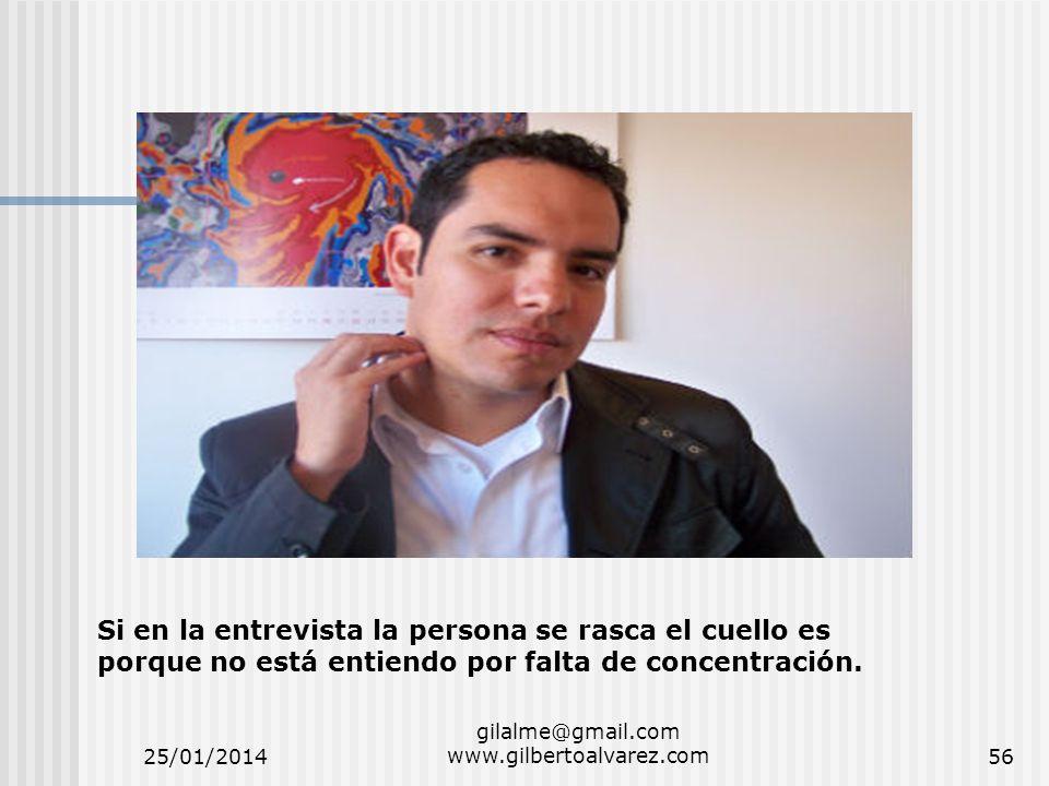 25/01/2014 gilalme@gmail.com www.gilbertoalvarez.com56 Si en la entrevista la persona se rasca el cuello es porque no está entiendo por falta de conce