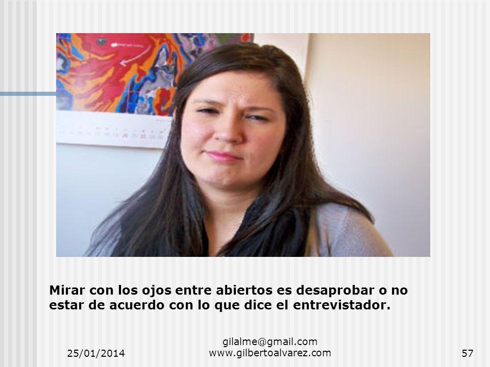 25/01/2014 gilalme@gmail.com www.gilbertoalvarez.com57 Mirar con los ojos entre abiertos es desaprobar o no estar de acuerdo con lo que dice el entrev