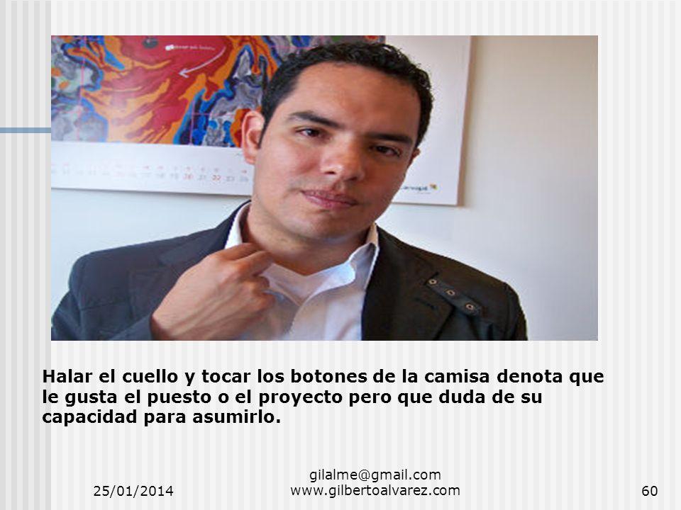 25/01/2014 gilalme@gmail.com www.gilbertoalvarez.com60 Halar el cuello y tocar los botones de la camisa denota que le gusta el puesto o el proyecto pe