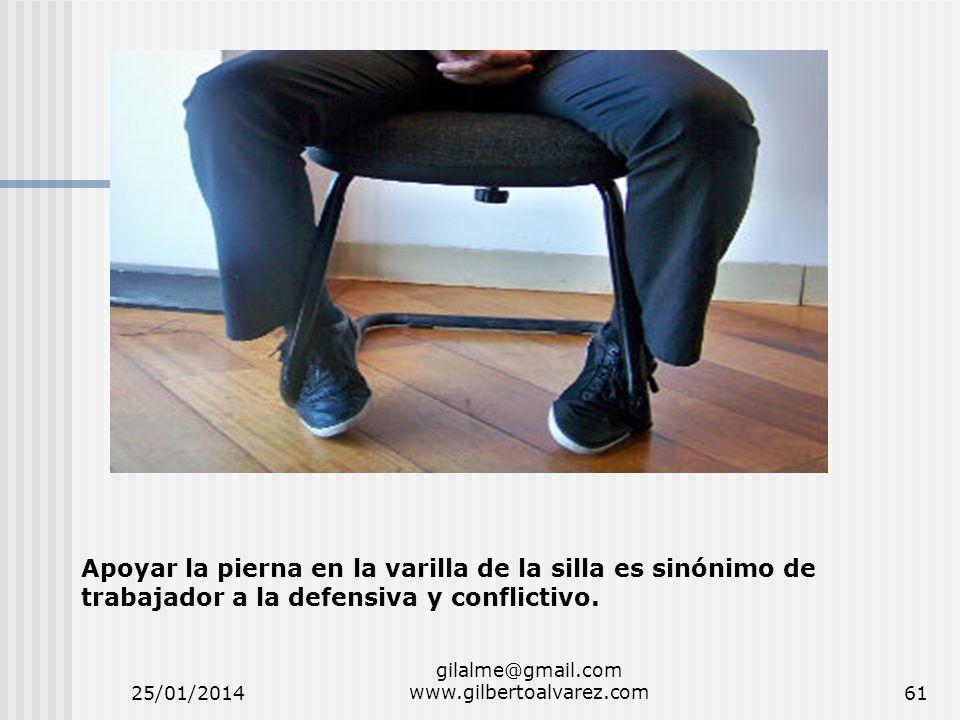 25/01/2014 gilalme@gmail.com www.gilbertoalvarez.com61 Apoyar la pierna en la varilla de la silla es sinónimo de trabajador a la defensiva y conflicti