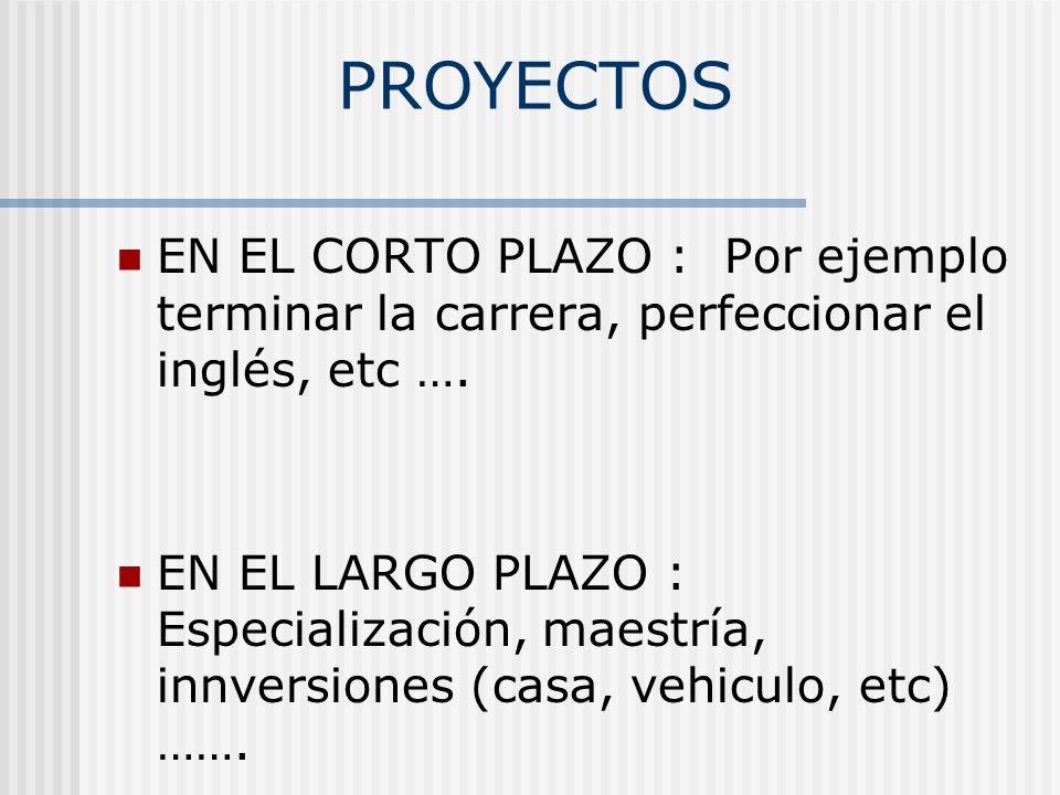 PROYECTOS EN EL CORTO PLAZO : Por ejemplo terminar la carrera, perfeccionar el inglés, etc …. EN EL LARGO PLAZO : Especialización, maestría, innversio