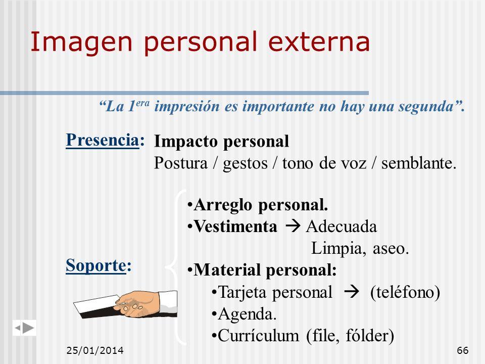 Imagen personal externa Soporte: Arreglo personal. Vestimenta Adecuada Limpia, aseo. Material personal: Tarjeta personal (teléfono) Agenda. Currículum