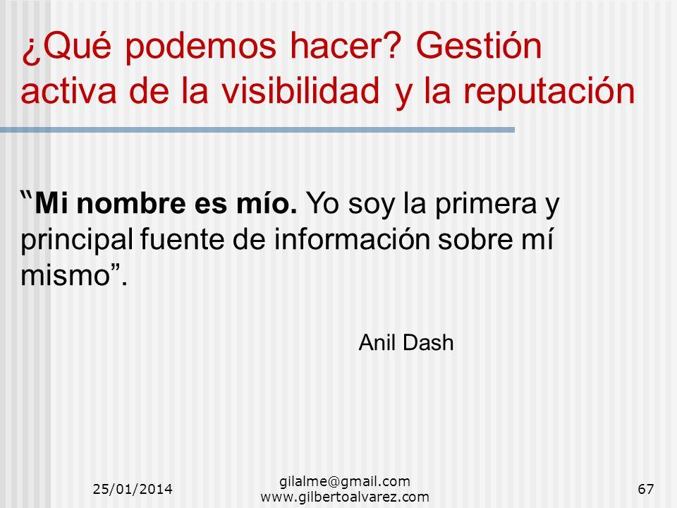 gilalme@gmail.com www.gilbertoalvarez.com ¿Qué podemos hacer? Gestión activa de la visibilidad y la reputación Mi nombre es mío. Yo soy la primera y p