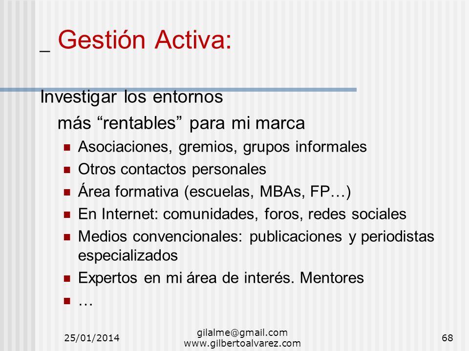 gilalme@gmail.com www.gilbertoalvarez.com _ Gestión Activa: Investigar los entornos más rentables para mi marca Asociaciones, gremios, grupos informal