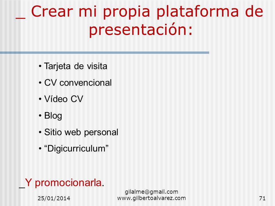 _ Crear mi propia plataforma de presentación: Tarjeta de visita CV convencional Vídeo CV Blog Sitio web personal Digicurriculum _Y promocionarla. 25/0