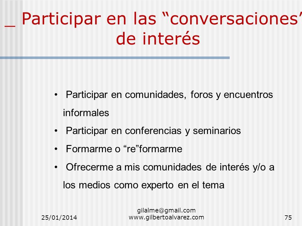 _ Participar en las conversaciones de interés Participar en comunidades, foros y encuentros informales Participar en conferencias y seminarios Formarm