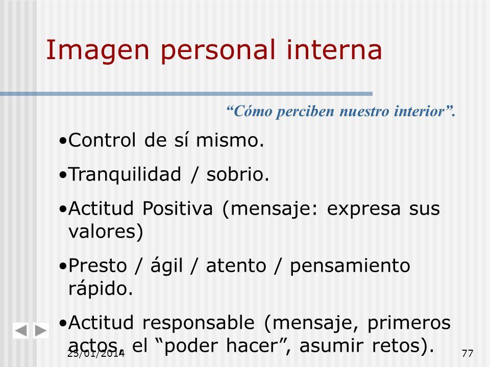 Imagen personal interna Control de sí mismo. Tranquilidad / sobrio. Actitud Positiva (mensaje: expresa sus valores) Presto / ágil / atento / pensamien