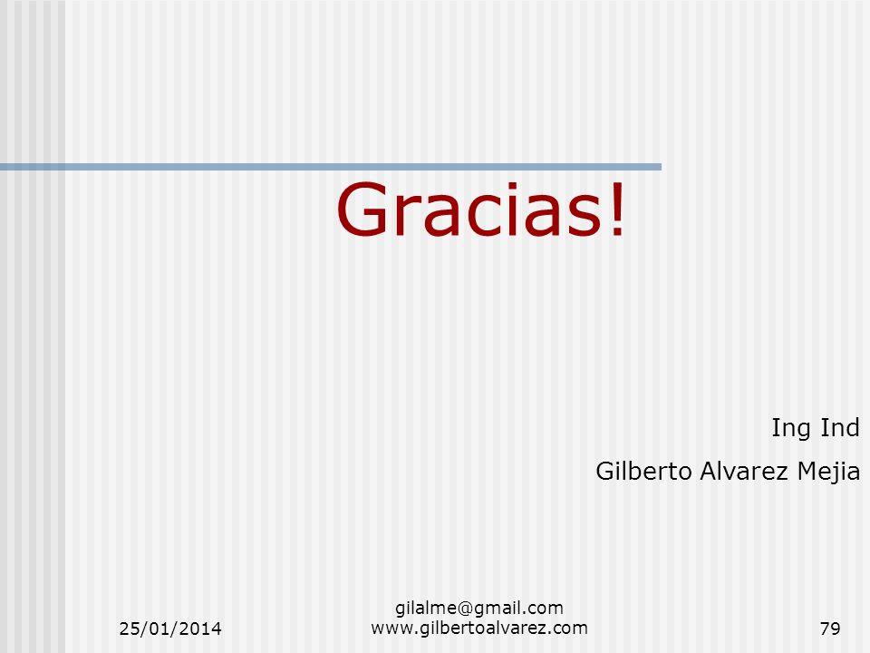 Gracias! Ing Ind Gilberto Alvarez Mejia 25/01/201479 gilalme@gmail.com www.gilbertoalvarez.com