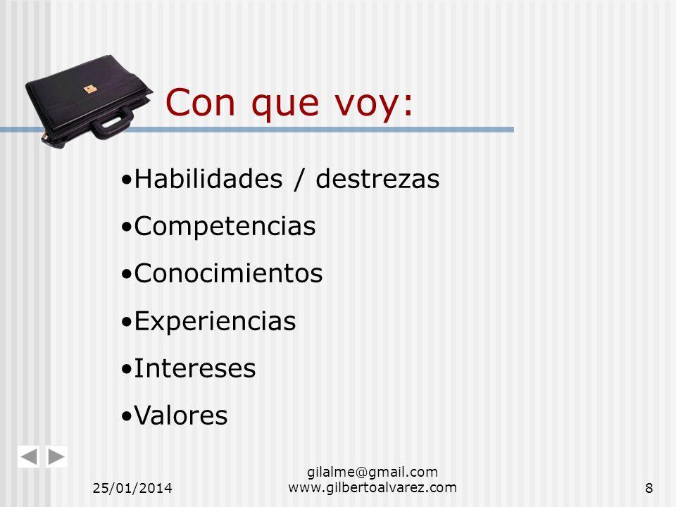 Con que voy: Habilidades / destrezas Competencias Conocimientos Experiencias Intereses Valores 25/01/20148 gilalme@gmail.com www.gilbertoalvarez.com