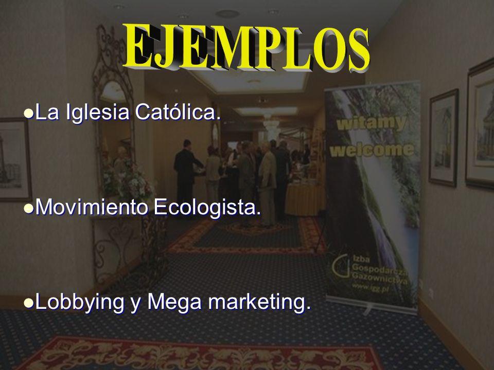 La Iglesia Católica. La Iglesia Católica. Movimiento Ecologista. Movimiento Ecologista. Lobbying y Mega marketing. Lobbying y Mega marketing.