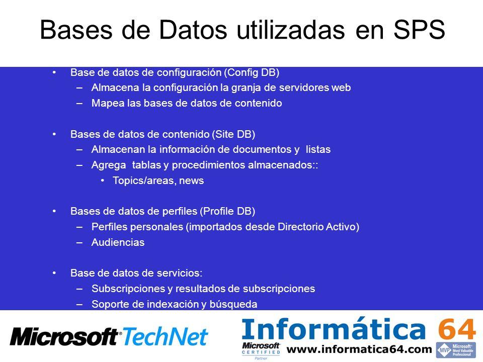 Bases de Datos utilizadas en SPS Base de datos de configuración (Config DB) –Almacena la configuración la granja de servidores web –Mapea las bases de datos de contenido Bases de datos de contenido (Site DB) –Almacenan la información de documentos y listas –Agrega tablas y procedimientos almacenados:: Topics/areas, news Bases de datos de perfiles (Profile DB) –Perfiles personales (importados desde Directorio Activo) –Audiencias Base de datos de servicios: –Subscripciones y resultados de subscripciones –Soporte de indexación y búsqueda