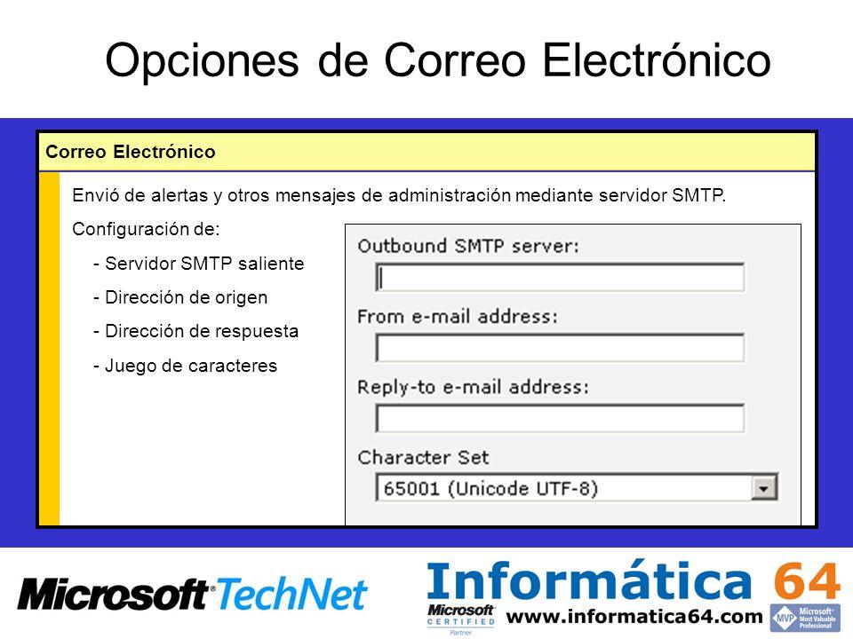 Opciones de Correo Electrónico Correo Electrónico Envió de alertas y otros mensajes de administración mediante servidor SMTP.
