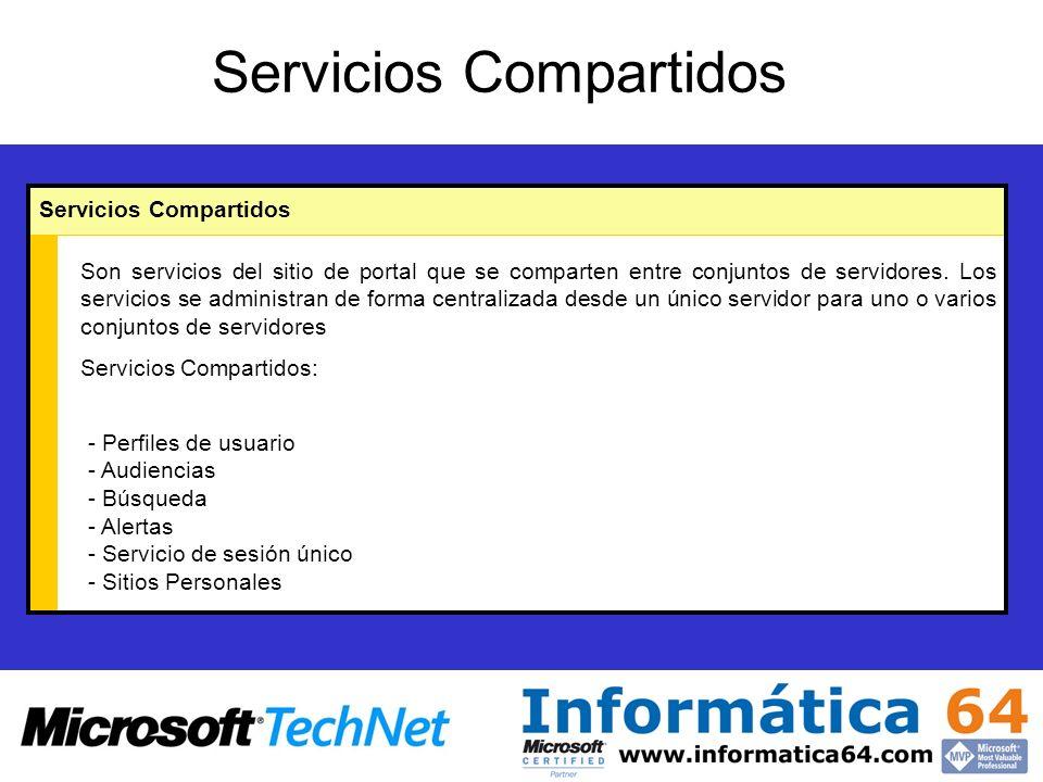 Servicios Compartidos Son servicios del sitio de portal que se comparten entre conjuntos de servidores.