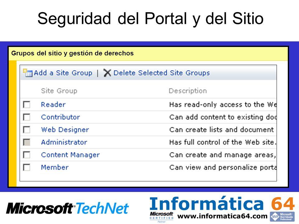 Seguridad del Portal y del Sitio Grupos del sitio y gestión de derechos
