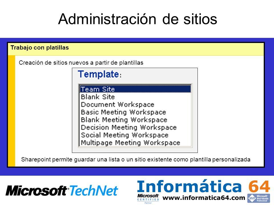 Administración de sitios Trabajo con platillas Creación de sitios nuevos a partir de plantillas Sharepoint permite guardar una lista o un sitio existente como plantilla personalizada