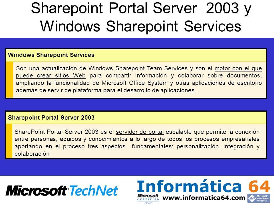 Sharepoint Portal Server 2003 y Windows Sharepoint Services Son una actualización de Windows Sharepoint Team Services y son el motor con el que puede crear sitios Web para compartir información y colaborar sobre documentos, ampliando la funcionalidad de Microsoft Office System y otras aplicaciones de escritorio además de servir de plataforma para el desarrollo de aplicaciones.