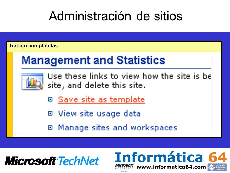 Administración de sitios Trabajo con platillas