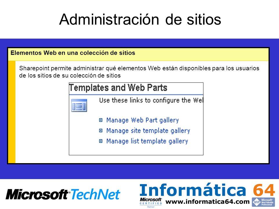 Administración de sitios Elementos Web en una colección de sitios Sharepoint permite administrar qué elementos Web están disponibles para los usuarios de los sitios de su colección de sitios