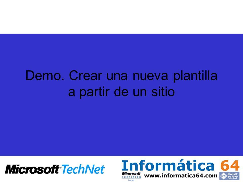Demo. Crear una nueva plantilla a partir de un sitio