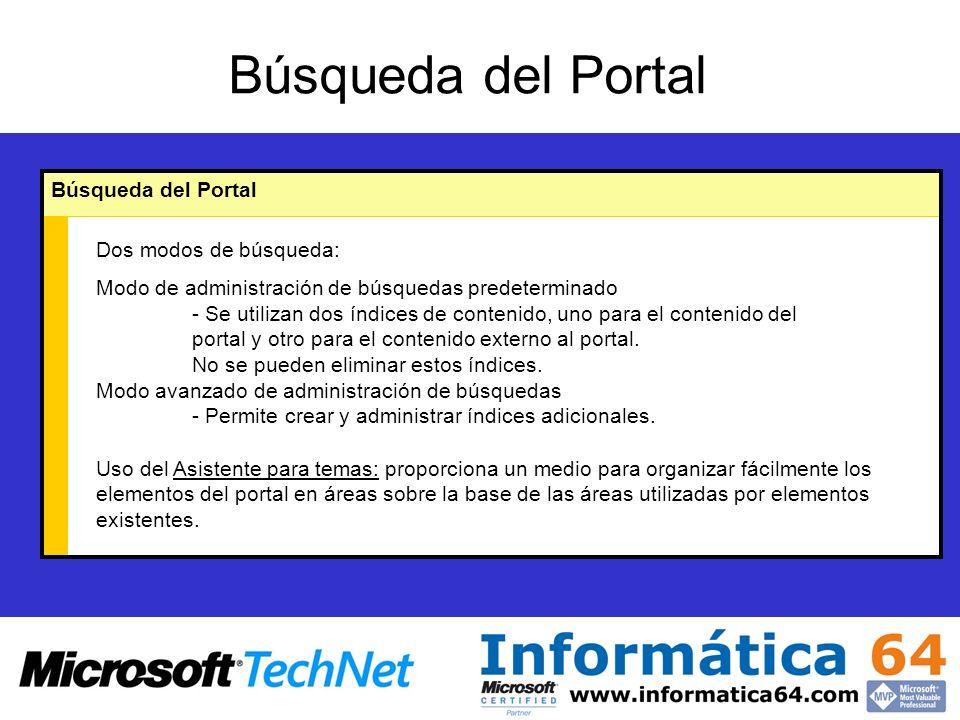 Búsqueda del Portal Dos modos de búsqueda: Modo de administración de búsquedas predeterminado - Se utilizan dos índices de contenido, uno para el contenido del portal y otro para el contenido externo al portal.